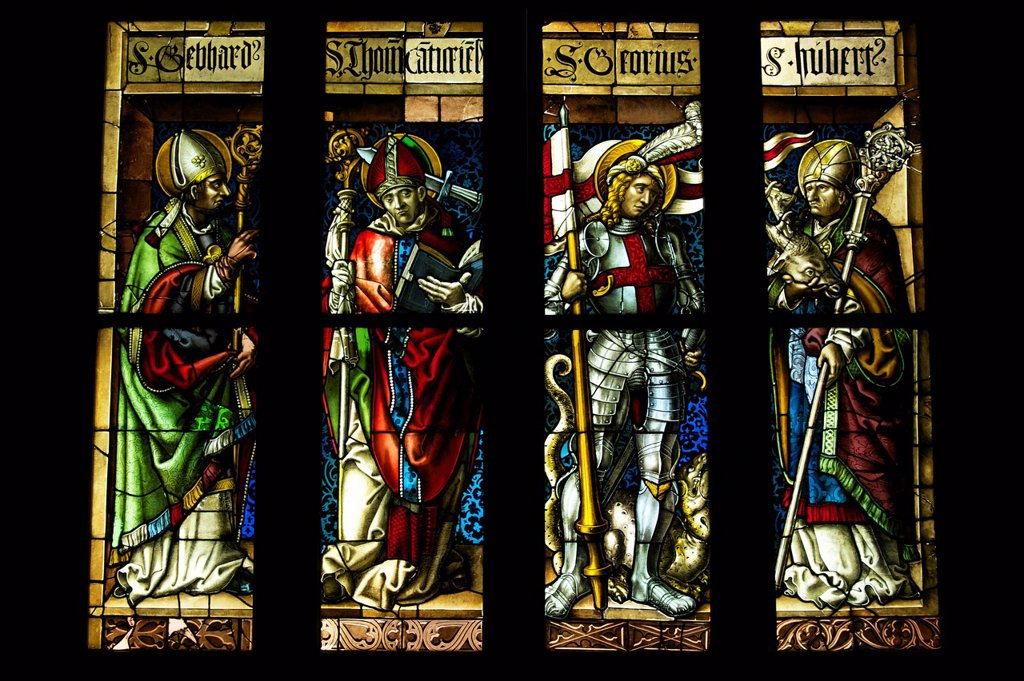 Germany, Black Forest, Schwarzwald, Baden_Wuerttemberg, Freiburg, Augustinermuseum, stained glasses, Saints Gebhard, Thomas of Canterbury, George and Hubert, by Hans Gitschmann, Freiburg 1511_1512 : Stock Photo