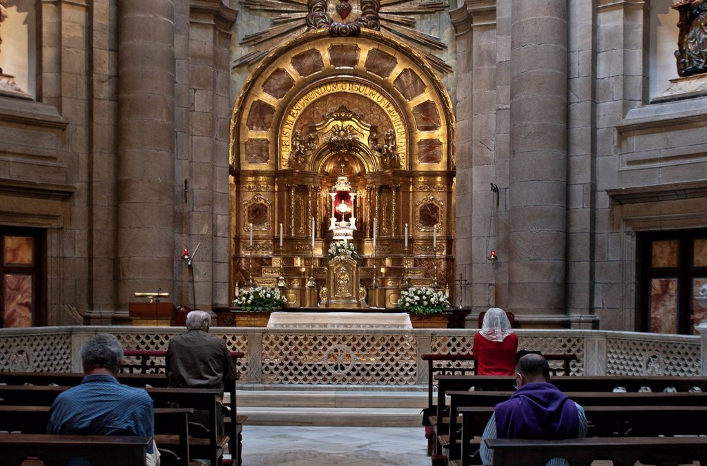 Stock Photo: 1792-132800 Spain, Galicia, Santiago de Compostella, listed as World Heritage by UNESCO, cathedral, ambulatory, Chapel of the Communion