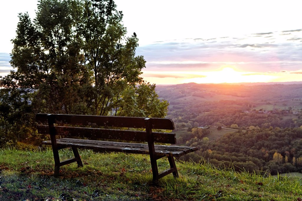 France, Correze, scenic view from Puy d´Yssandon, bench at sunset : Stock Photo