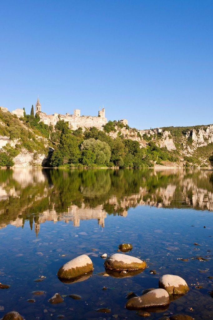 Stock Photo: 1792-132960 France, Gard, Aigueze, labeled Most Beautiful Villages of France, Medieval village perched above the Ardeche river