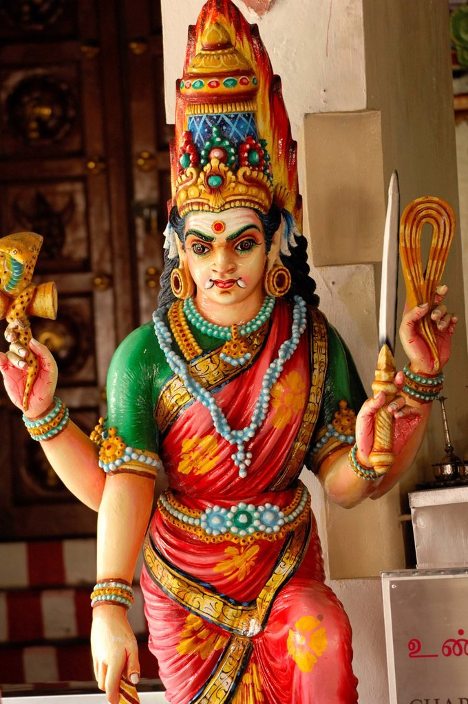 Stock Photo: 1792-132998 Singapore, Sri Mariamman Temple, statue of deity in the Sri Mariamman Temple oldest Hindu temple in Singapore
