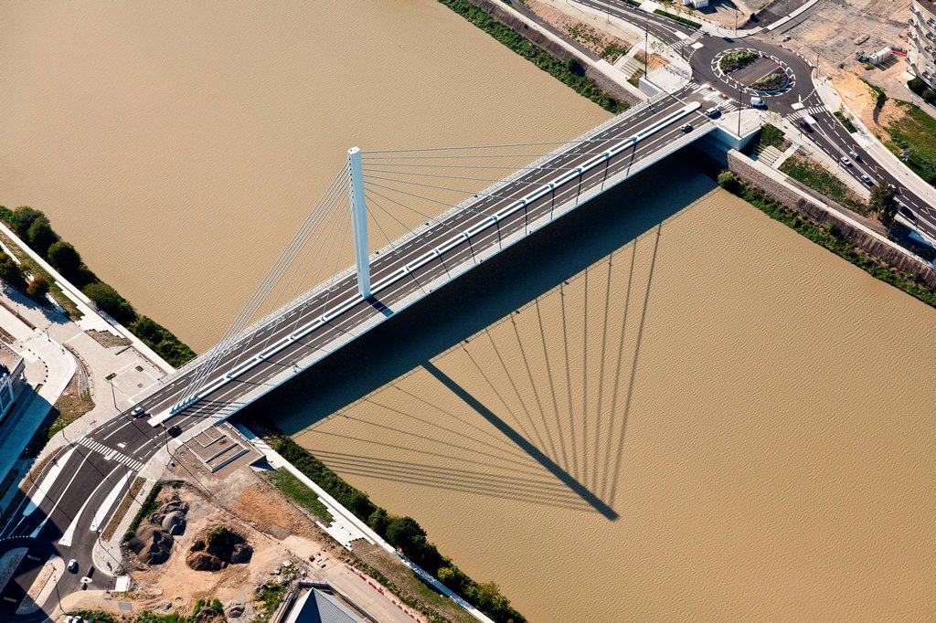 France, Loire_Atlantique, Nantes, Eric Tabarly bridge aerial photography : Stock Photo