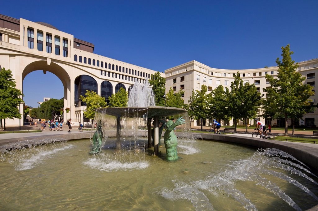 Stock Photo: 1792-133223 France, Herault, Montpellier, fountain Place of Thessalie, Antigone district by the architect Ricardo Bofill
