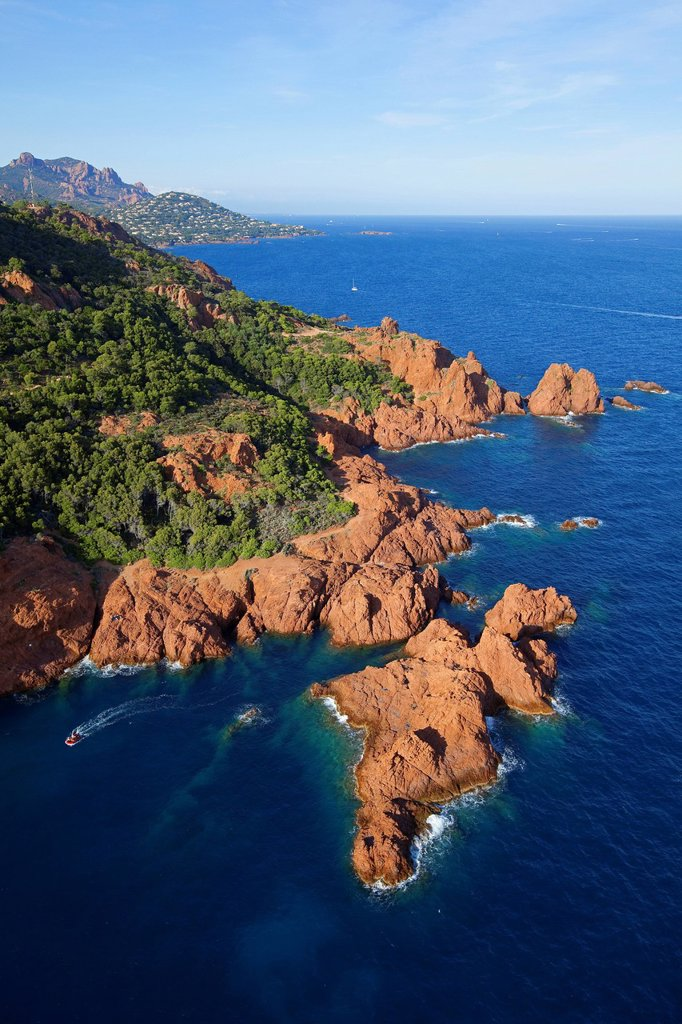 France, Var, Esterel, Saint Raphael, hamlet Dramont, Cap Dramont aerial view : Stock Photo