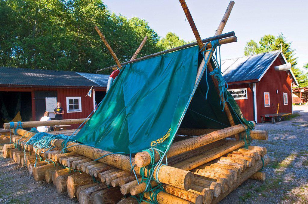 Sweden Central Area Varmland County Timber Raft Boat On Klaralven