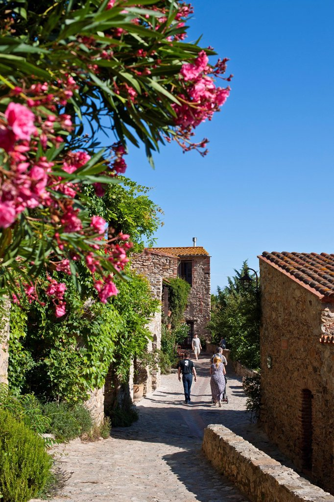 Stock Photo: 1792-133810 France, Pyrenees Orientales, Castelnou labelled Les Plus Beaux Villages de France The Most Beautiful Villages of France, cobbled streets and ochre stone facades