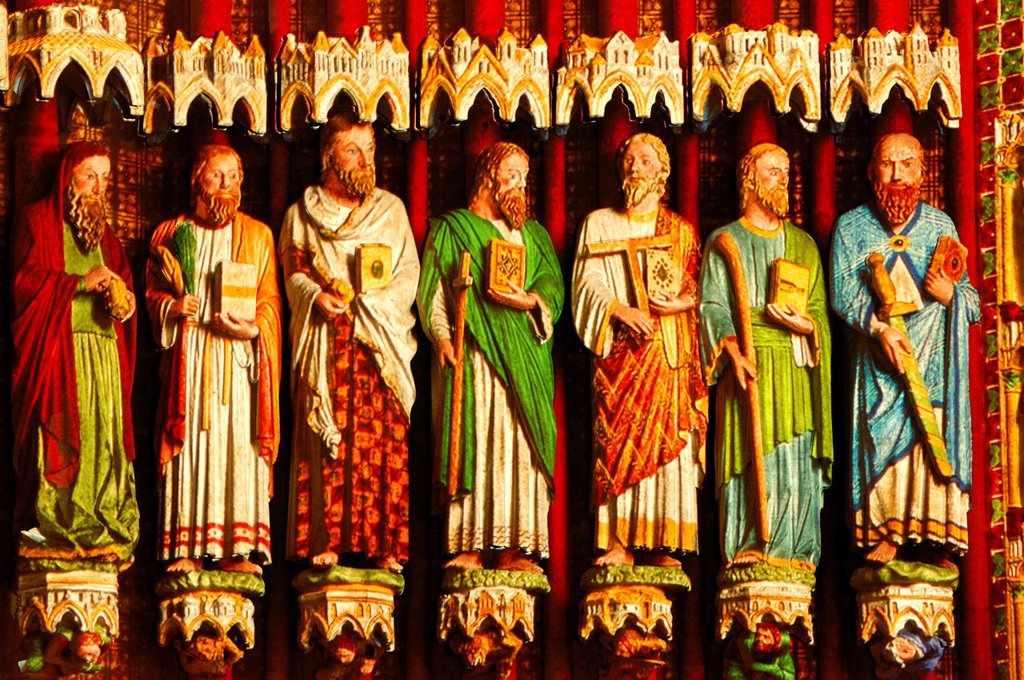 Stock Photo: 1792-133899 France, Somme, Amiens, Notre Dame d´Amiens Cathedral, listed as World Heritage by UNESCO polychromatic illumination and original colors restoration of the statues of the Judgement portal