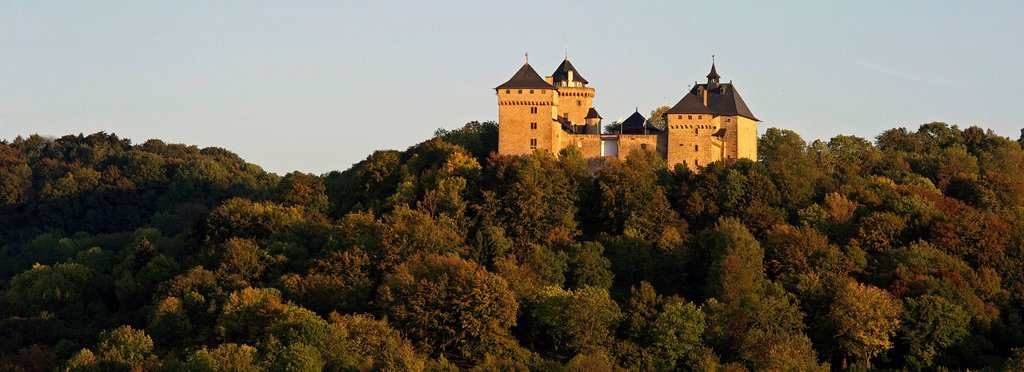 France, Moselle, Manderen, Malbrouck medieval castle : Stock Photo