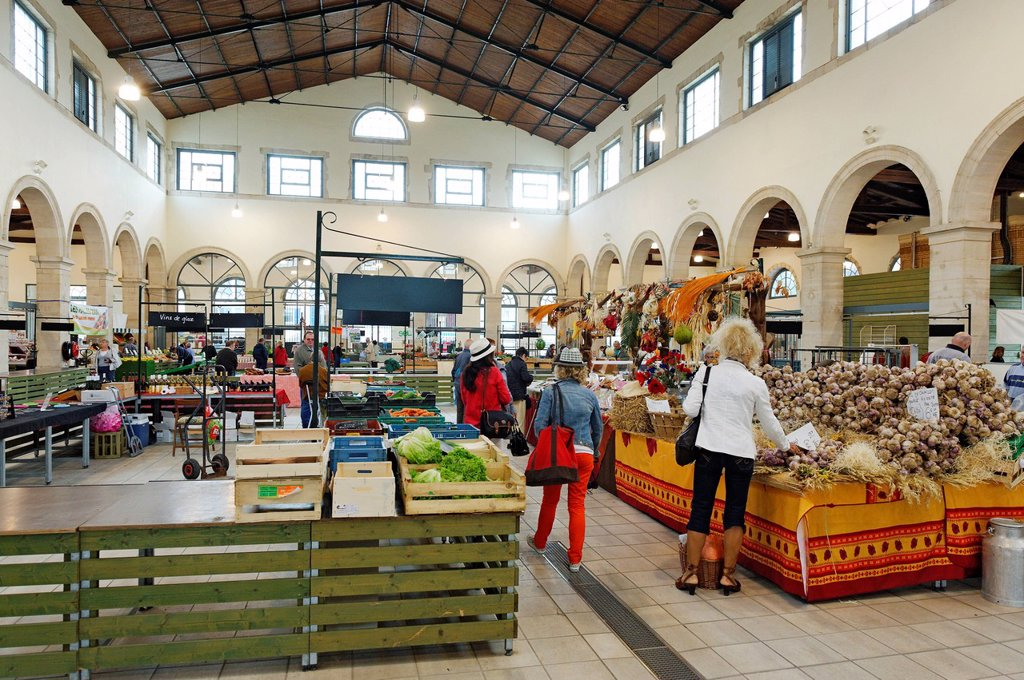 France, Meuse, Verdun, covered market of the 19th century on the site of the former Augustinian convent : Stock Photo