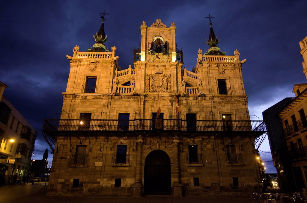 Spain, Castile and Leon, Astorga, a stop on el Camino de Santiago, the town Hall, with its automated carillon : Stock Photo