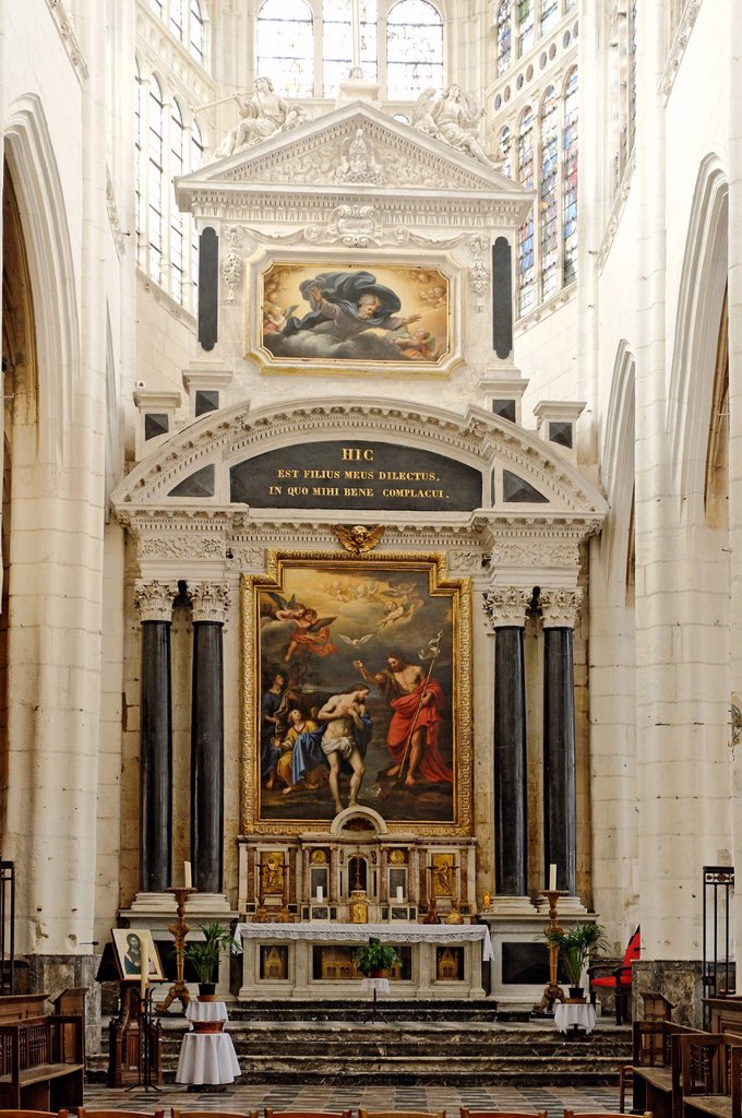 Stock Photo: 1792-135522 France, Aube, Troyes, St Jean au Marche Church of the 13th century, monumental altarpiece in Italian style designed in 1667 by the Parisian architect Noblet and decorated with paintings by Pierre Mignard