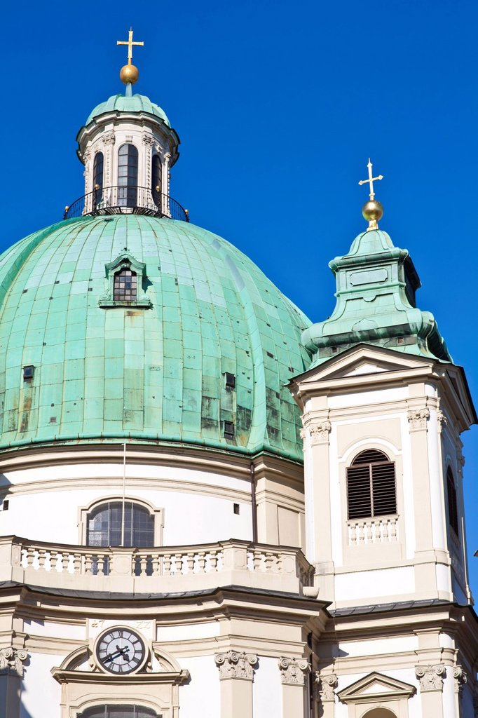 Stock Photo: 1792-135549 Austria, Vienna, historic center listed as World Heritage by UNESCO, Petersplatz, St. Peter Church Peterskirche, built in 1722, Baroque style