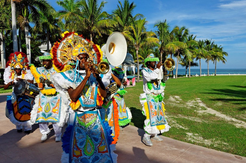 Stock Photo: 1792-136076 Bahamas, Grand Bahama Island, Freeport, Lucaya Beach, carnaval summer resumption of famous Junkanoo celebration slaves established on the island since the 17th century, trumpet and trombone with their feathered costumes and masks during a parade
