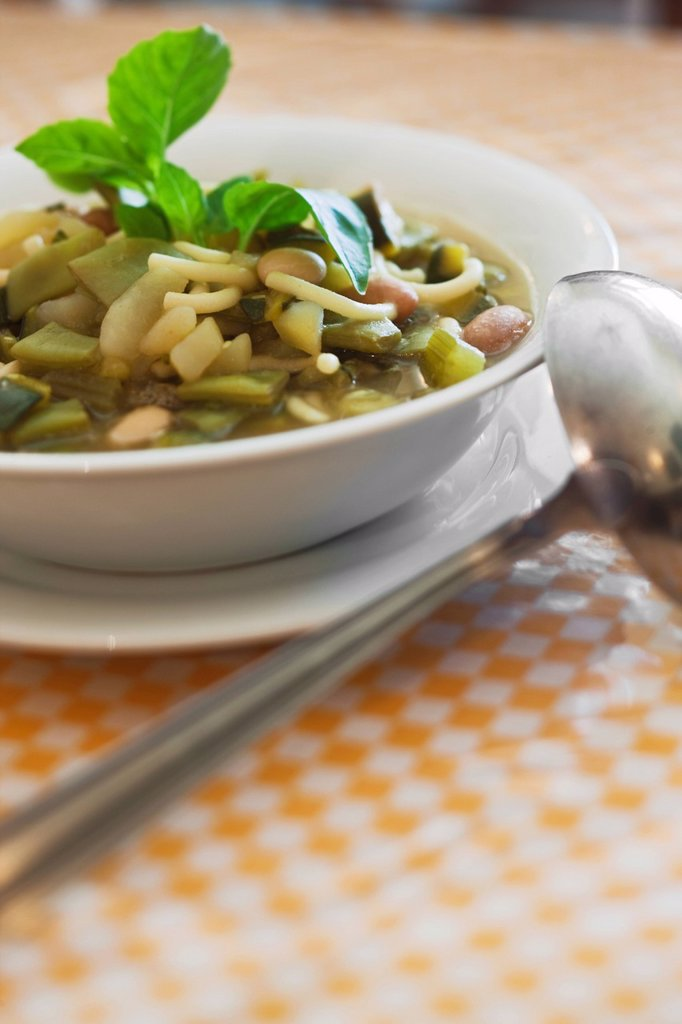 France, Bouches du Rhone, Marseille, Pistou soup at Madame Rose Chez Vincent, 25, rue Glandeves : Stock Photo