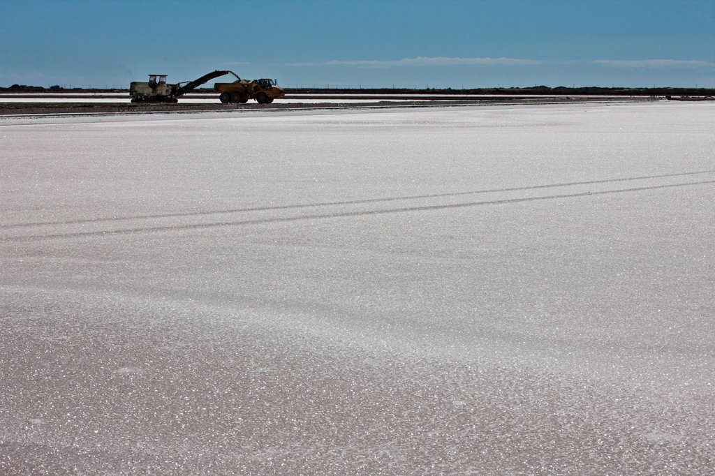 Stock Photo: 1792-136353 France, Bouches du Rhone, Salins de Giraud, exploitation of salt, the group operates Salins du Midi salt marshes which produce near one million tons of sodium chloride per year