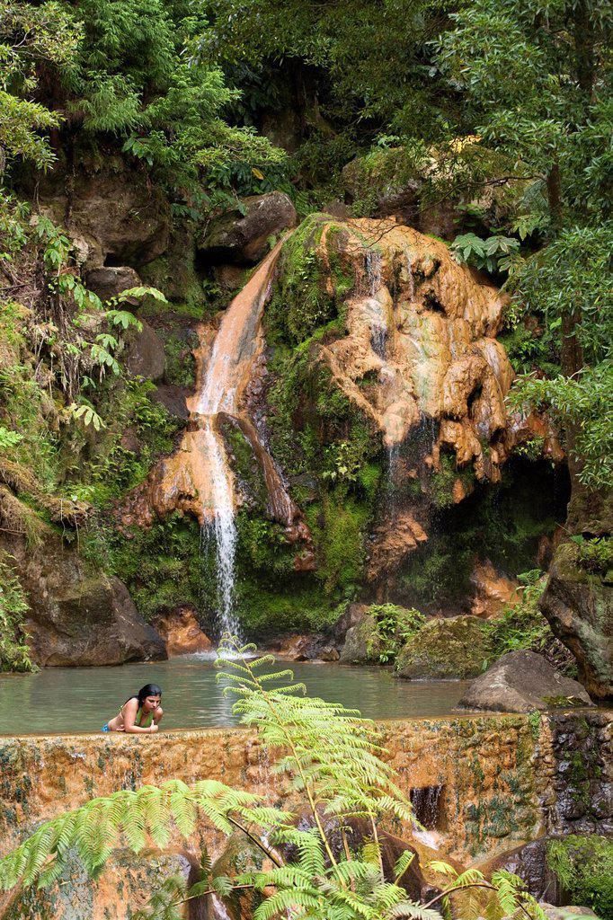 Portugal, Azores islands, Sao Miguel island, caldeira velha, sulfurous hot spring : Stock Photo