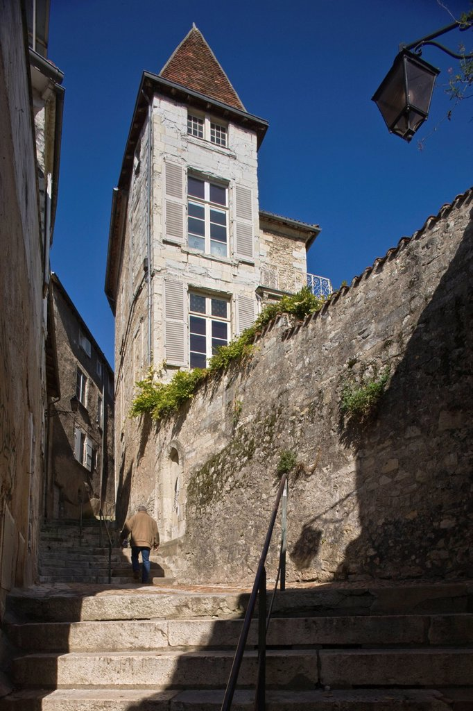 France, Dordogne, Perigueux, old town, street of the trough : Stock Photo
