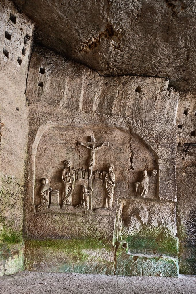 Stock Photo: 1792-136779 France, Dordogne, Brantome, Abbey Saint Pierre de Brantome is a former Benedictine abbey, remains of the first monastery built in the foot of the cliff the cave including the Last Judgement, Crucifixion, bas relief of the fifteenth century