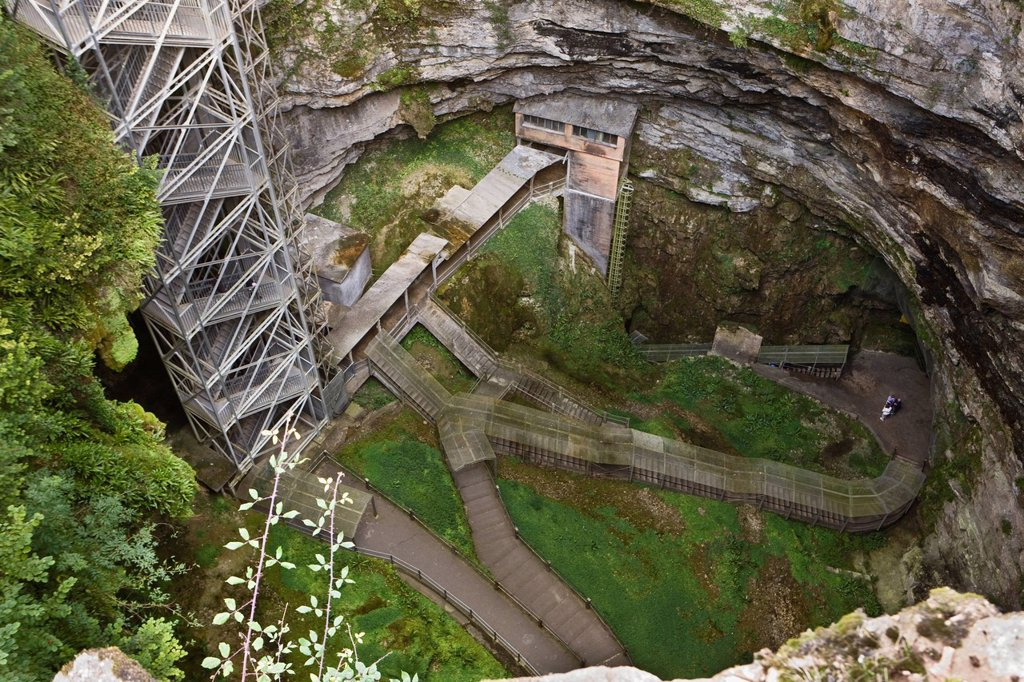 France, Lot, Padirac, Padirac chasm, the well : Stock Photo