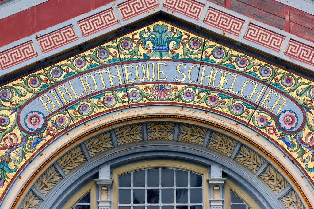 Stock Photo: 1792-137791 France, Martinique French West Indies, Fort de France, detail of the pediment of the Scoelcher Library built for the 1889 World Fair in Paris before being dismantled and transported to Fort de France