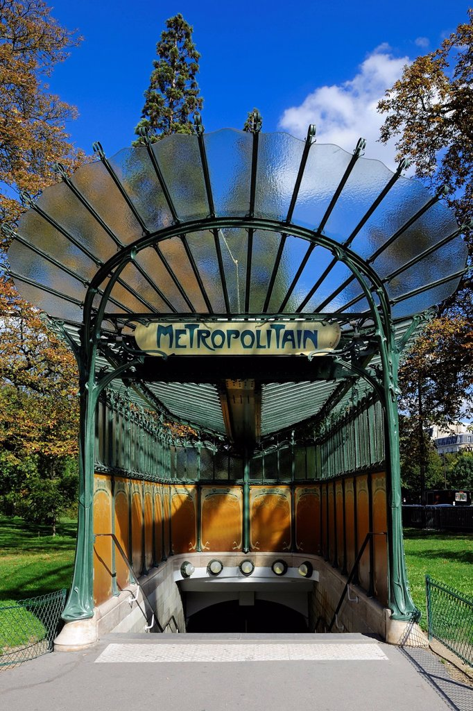 France, Paris, Porte Dauphine subway station in Art Nouveau style by Hector Guimard : Stock Photo