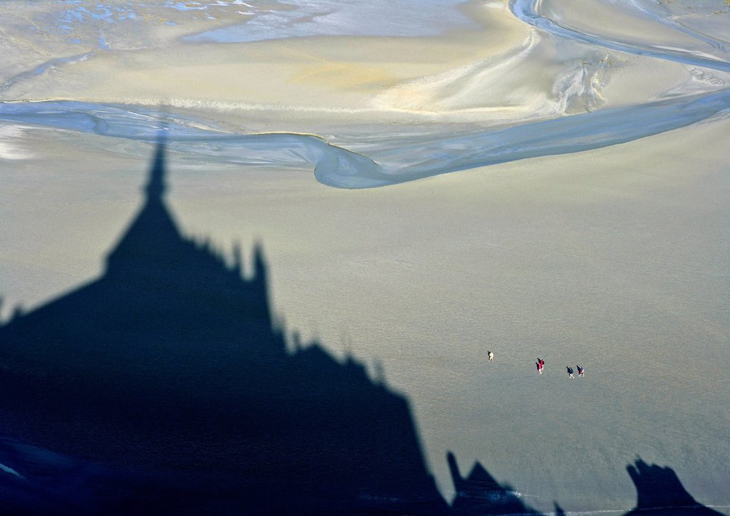 Stock Photo: 1792-137967 France, Manche, Bay of Mont Saint Michel, listed as World Heritage by UNESCO, Mont Saint Michel shadow on the shore