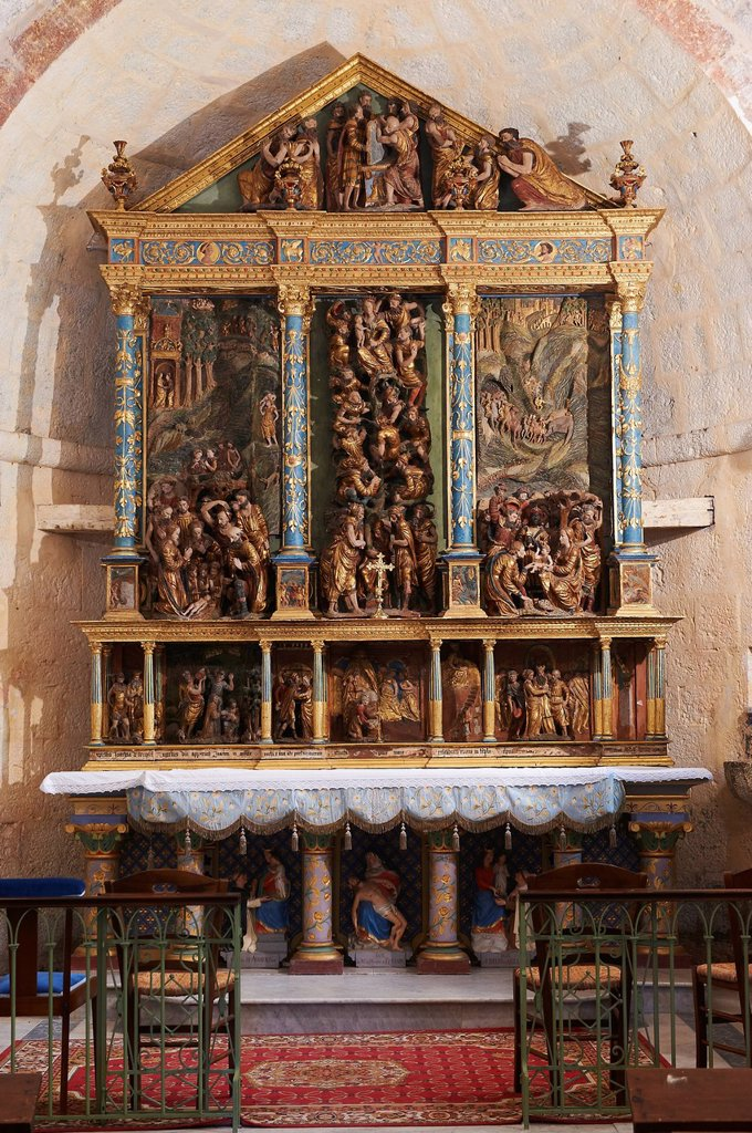 Stock Photo: 1792-138234 France, Var, Seillans, labeled Les Plus Beaux Villages de France The Most Beautiful Villages of France, Notre Dame de l´Ormeau chapel, Altarpiece