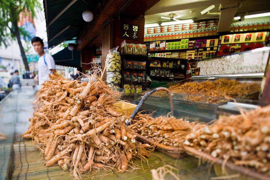 South Korea, Seoul, Dongdaemun District, display of fresh ginseng at Gyeongdong Market : Stock Photo