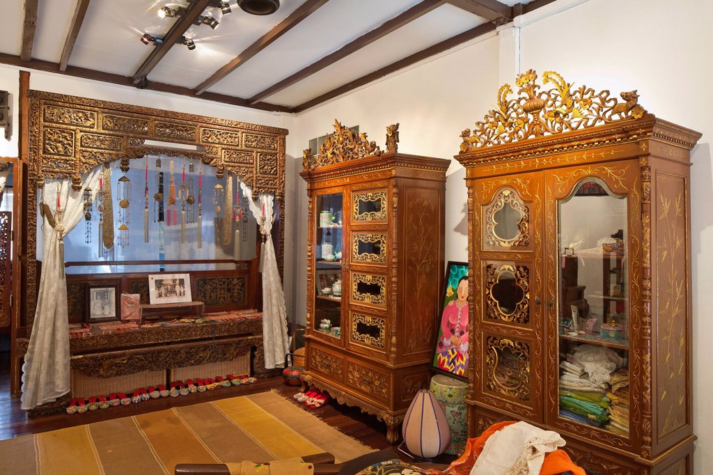 Singapore, The Intan, a Peranakan house showing the culture of the Chinese descendants of the immigrants settled in Malacca, Penang, and Singaporein the 15th century in the British colonies : Stock Photo