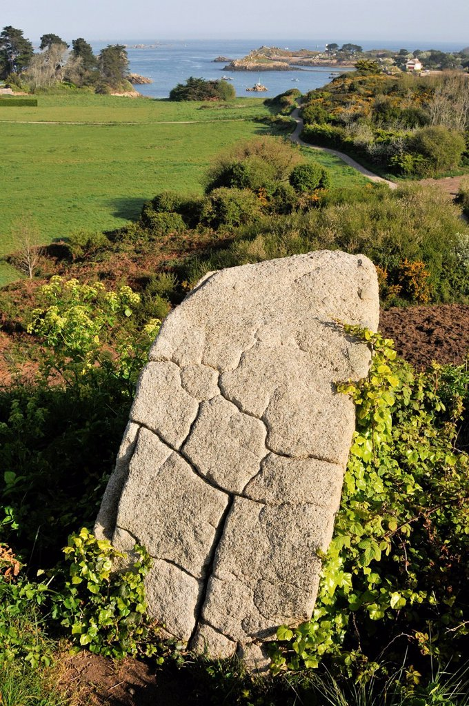 Stock Photo: 1792-139513 France, Cotes d´Armor, Brehat island, granite block cracked by erosion, Brehatine campaign, off the entrance to the Port of Rope
