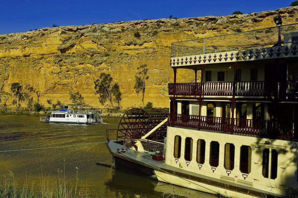 Stock Photo: 1792-139753 Australia, South Australia, Murray River, Murray Princess paddle boat near Big Bend Cliff