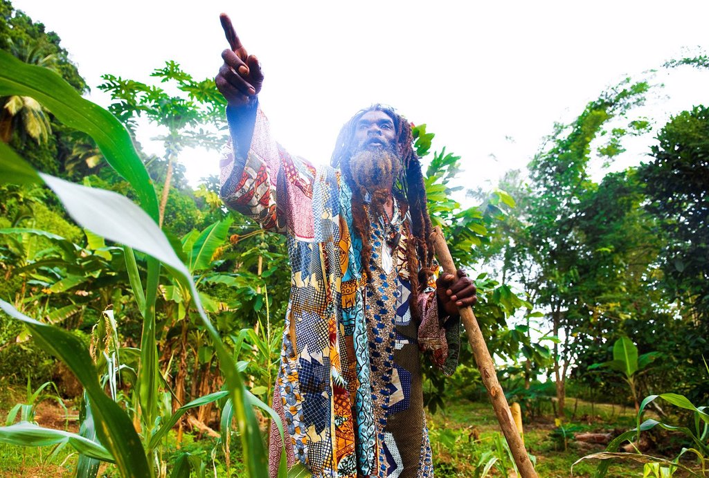 Dominica, South East area of island, area of Victoria Falls, James Moses, the famous Rastaman heros of independance of 70´s, here in his organic garden of his organic restaurant and guest house for tourist : Stock Photo