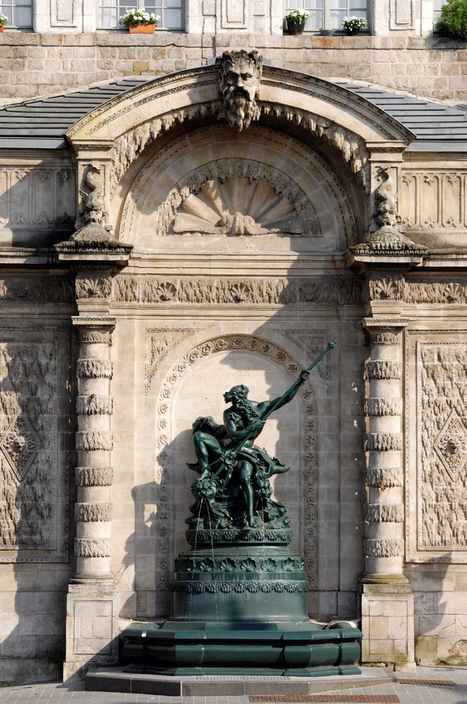 France, Pas de Calais, Arras, Fountain of Pont de Cite or Fontaine Neptune realised by the sculptor Vital Dubray in 1883 and listed in the french Monument Historiques : Stock Photo