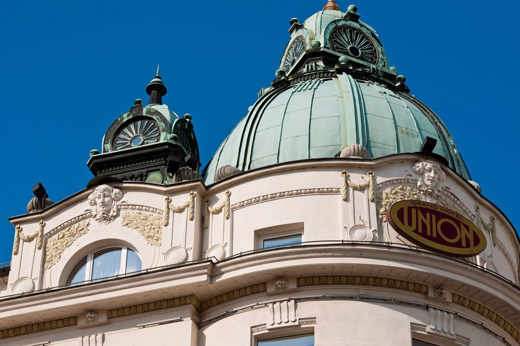 Slovenia, Ljubljana, capital town of Slovenia, the Grand Hotel Union : Stock Photo