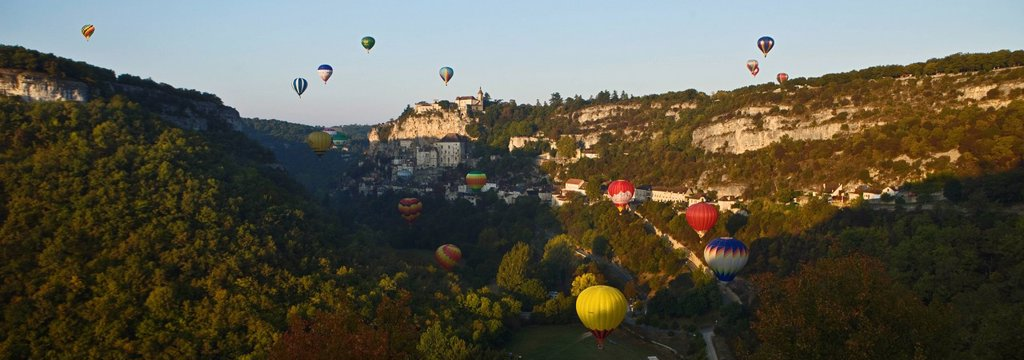 France, Lot, Rocamadour, Hot Air Balloon in Canyon Alzou : Stock Photo