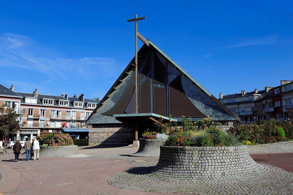 France, Seine Maritime, Saint Valery en Caux, the church : Stock Photo
