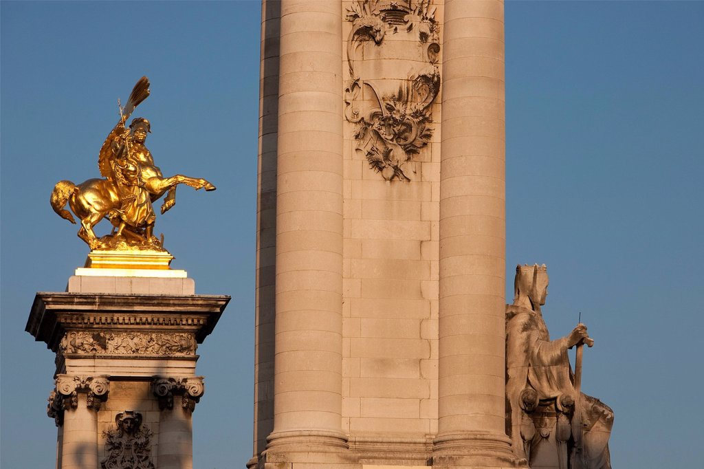 Stock Photo: 1792-140728 France, Paris, Pont Alexandre III, angle pillars covered with a golden bronze statue representing Pegasus held by La Renommee Arts allegory