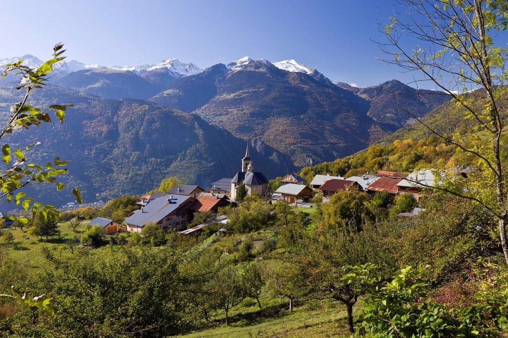 Stock Photo: 1792-141435 France, Savoie, Aigueblanche and Baroque Church of St. Martin on the 17th century in the hamlet of Villargerel, the Tarentaise Valley, the massif of Beaufortain with a view of the chaine de la Lauziere
