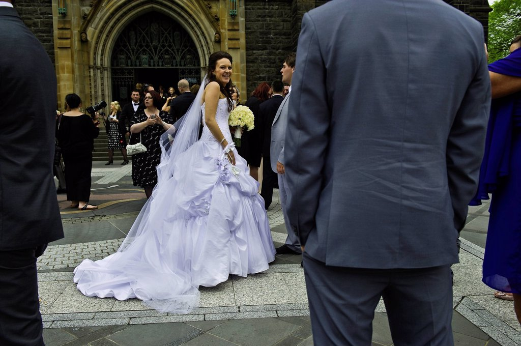 Stock Photo: 1792-141979 Australia, Victoria, Melbourne, East Melbourne, neo_gothic St Patrick´s Cathedral, weeding