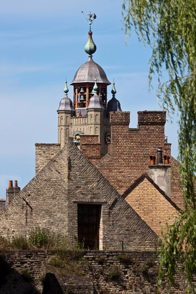 France, Nord, Bergues, The roofs of the village and the Belfry, Belfry UNESCO World Heritage Site : Stock Photo