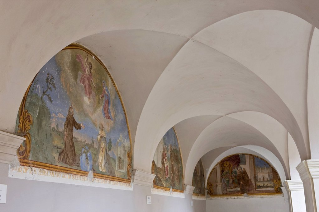 Stock Photo: 1792-142595 France, Alpes Maritimes, Saorge, paintings of the Cloister of the Convent of the Franciscans