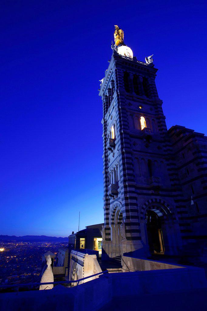 France, Bouches du Rhone, Marseille, 6th arrondissement, Notre Dame de la Garde : Stock Photo