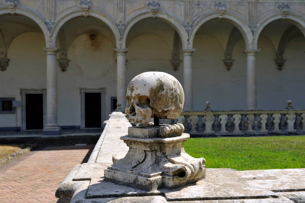 Stock Photo: 1792-144585 Italy, Campania, Naples, historical centre listed as World Heritage by UNESCO, Certosa di San Martino St. Martin´s Charterhouse, San Martino cloister, death´s_head sculpture