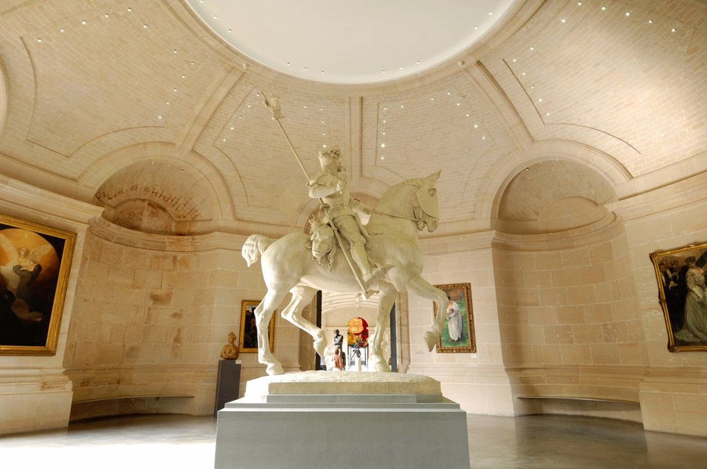 France, Nord, Lille, Fine Arts museum and palace, statue of the wandering Knight by Emmanuel Freminet : Stock Photo