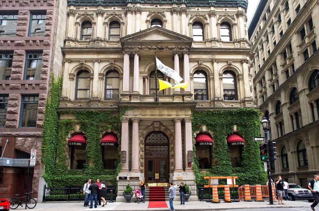 Canada, Quebec province, Montreal, Hotel St James is located in a former bank and is the most luxurious of the city : Stock Photo
