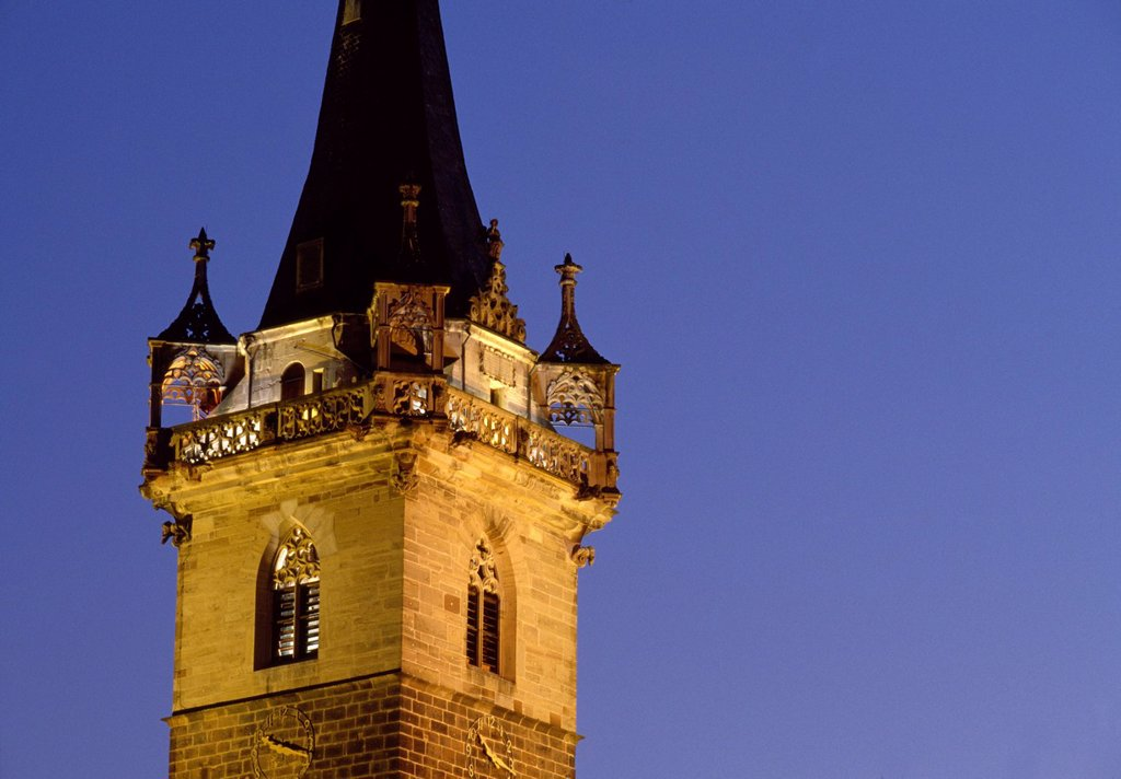 Stock Photo: 1792-144933 France, Bas Rhin, Obernai, belfry in the evening light