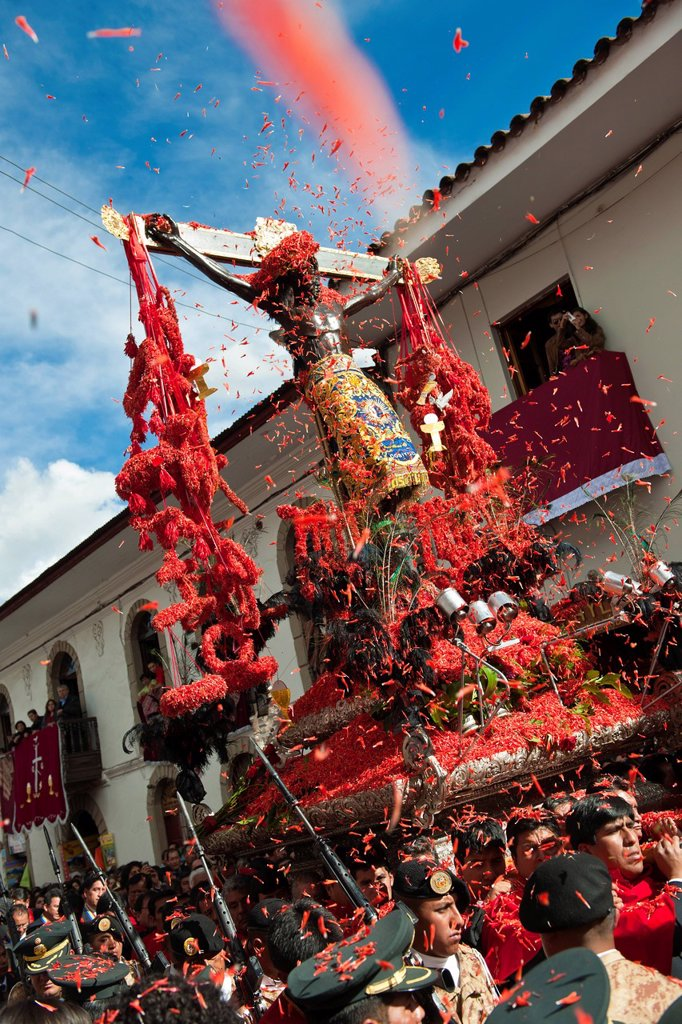 Peru, Cuzco Province, Cuzco, listed as World Heritage by UNESCO, Easter, Easter Monday, a procession of Christ on Earthquakes, black christ, patron of the city of Cuzco : Stock Photo