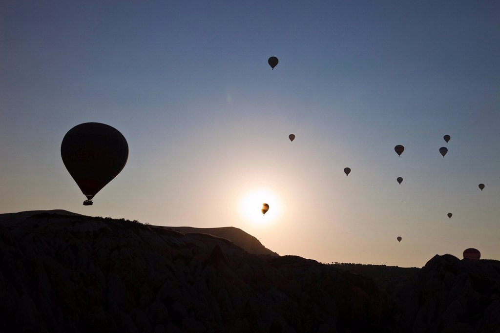 Stock Photo: 1792-145250 Turkey, Central Anatolia, Cappadocia, listed as World Heritage by UNESCO, Goreme valley, hot air balloons aerial view