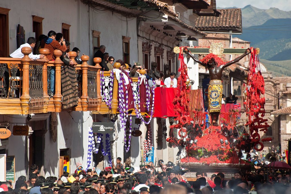 Stock Photo: 1792-145382 Peru, Cuzco Province, Cuzco, listed as World Heritage by UNESCO, Easter, Easter Monday, a procession of Christ on Earthquakes, black christ, patron of the city of Cuzco