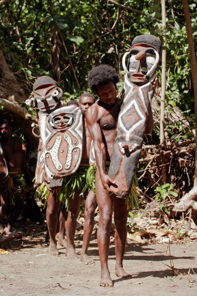 Vanuatu, Malampa Province, Malekula Island, Lamap, men in traditional dress performing a Small Nambas funerary ritual : Stock Photo